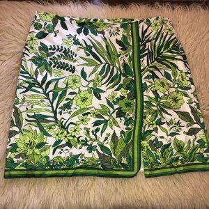 J.CREW silk tropical print skirt women's 16